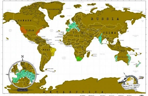 Turista geek? Ecco la mappa grattabile che ti ricorda dove sei stato