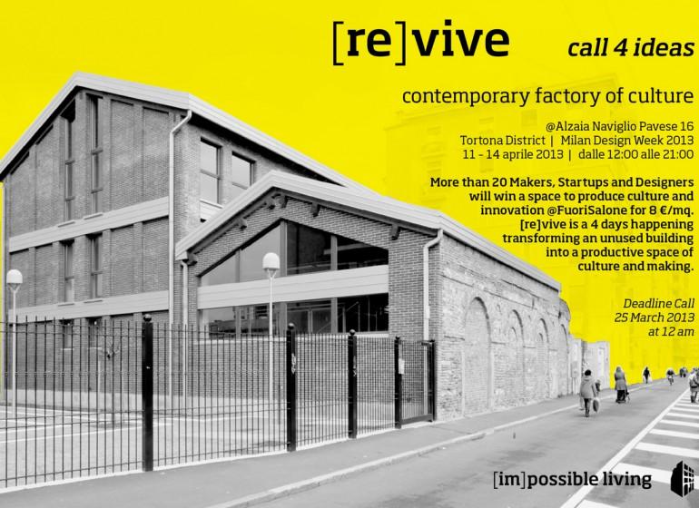 Partecipa a [re]vive ed esponi al Fuori Salone di Milano!