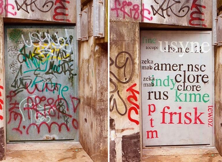 La street art di Tremblin rende leggibili i tag degli street writer