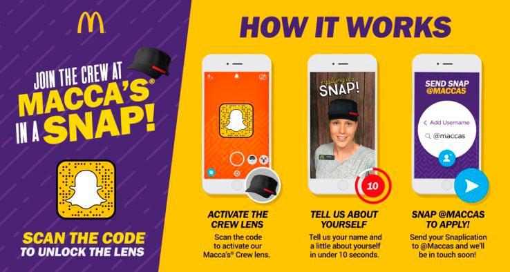 Snaplications: McDonalds invita i giovani a candidarsi con Snapchat