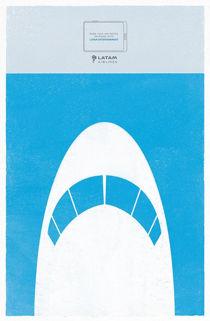 La campagna della compagnia aerea con le locandine minimal dei film